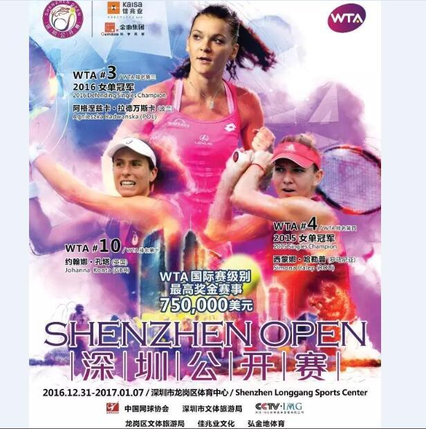 2016年WTA大型国际赛事-深圳公开赛门票免费抢!1月1日